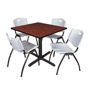 "Regency Cain 36"" Square Breakroom Table- Cherry and 4 'M' Stack Chairs- Grey (TB3636CH47GY)"