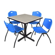 "Regency Cain 36"" Square Breakroom Table- Maple and 4 'M' Stack Chairs- Blue (TB3636PL47BE)"