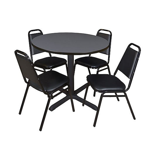 "Regency Cain 36"" Round Breakroom Table- Grey and 4 Restaurant Stack Chairs- Black (TB36RNDGY29BK)"