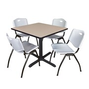 "Regency Cain 42"" Square Breakroom Table- Beige and 4 'M' Stack Chairs- Grey (TB4242BE47GY)"