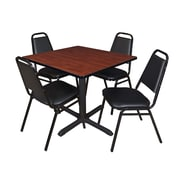 """Regency Cain 42"""" Square Breakroom Table- Cherry and 4 Restaurant Stack Chairs- Black (TB4242CH29BK)"""