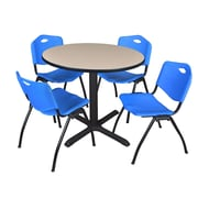 """Regency Cain 42"""" Round Breakroom Table- Beige and 4 'M' Stack Chairs- Blue (TB42RNDBE47BE)"""