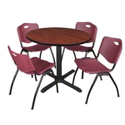 """Regency Cain 42"""" Round Breakroom Table- Cherry and 4 'M' Stack Chairs- Burgundy (TB42RNDCH47BY)"""