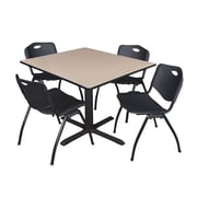 """Regency Cain 48"""" Square Breakroom Table- Beige and 4 'M' Stack Chairs- Black (TB4848BE47BK)"""