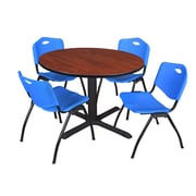 """Regency Cain 48"""" Round Breakroom Table- Cherry and 4 'M' Stack Chairs- Blue (TB48RNDCH47BE)"""