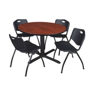 """Regency Cain 48"""" Round Breakroom Table- Cherry and 4 'M' Stack Chairs- Black (TB48RNDCH47BK)"""