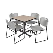 """Regency Kobe 30"""" Square Breakroom Table- Beige and 4 Zeng Stack Chairs- Grey (TKB3030BE44GY)"""