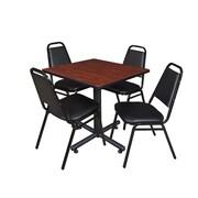 "Regency Kobe 30"" Square Breakroom Table- Cherry and 4 Restaurant Stack Chairs- Black (TKB3030CH29BK)"