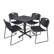 "Regency Kobe 30"" Square Breakroom Table- Grey and 4 Zeng Stack Chairs- Black (TKB3030GY44BK)"