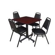 "Regency Kobe 30"" Square Breakroom Table- Mahogany and 4 Restaurant Stack Chairs- Black (TKB3030MH29BK)"