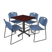 """Regency Kobe 30"""" Square Breakroom Table- Mahogany and 4 Zeng Stack Chairs- Blue (TKB3030MH44BE)"""