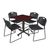 "Regency Kobe 30"" Square Breakroom Table- Mahogany and 4 Zeng Stack Chairs- Black (TKB3030MH44BK)"