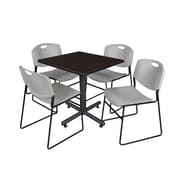 "Regency Kobe 30"" Square Breakroom Table- Mocha Walnut  and 4 Zeng Stack Chairs- Grey (TKB3030MW44GY)"