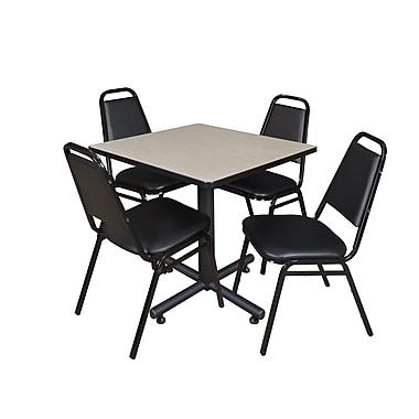 Regency – Table de salle de pause carrée Kobe de 30 po, érable, avec 4 chaises empilables Restaurant, noir (TKB3030PL29BK)