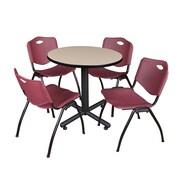 "Regency Kobe 30"" Round Breakroom Table- Beige and 4 'M' Stack Chairs- Burgundy (TKB30RNDBE47BY)"