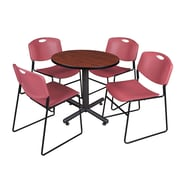 """Regency Kobe 30"""" Round Breakroom Table- Cherry and 4 Zeng Stack Chairs- Burgundy (TKB30RNDCH44BY)"""