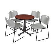 """Regency Kobe 30"""" Round Breakroom Table- Cherry and 4 Zeng Stack Chairs- Grey (TKB30RNDCH44GY)"""