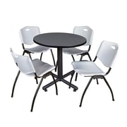 """Regency Kobe 30"""" Round Breakroom Table- Grey and 4 'M' Stack Chairs- Grey (TKB30RNDGY47GY)"""