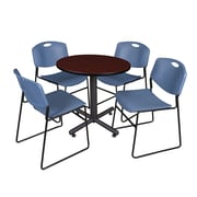 "Regency Kobe 30"" Round Breakroom Table- Mahogany and 4 Zeng Stack Chairs- Blue (TKB30RNDMH44BE)"