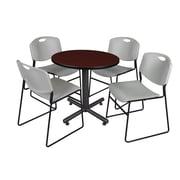 "Regency Kobe 30"" Round Breakroom Table- Mahogany and 4 Zeng Stack Chairs- Grey (TKB30RNDMH44GY)"