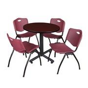 "Regency Kobe 30"" Round Breakroom Table- Mahogany and 4 'M' Stack Chairs- Burgundy (TKB30RNDMH47BY)"
