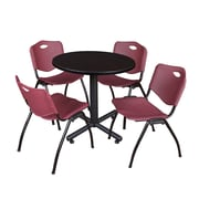 "Regency Kobe 30"" Round Breakroom Table- Mocha Walnut  and 4 'M' Stack Chairs- Burgundy (TKB30RNDMW47BY)"