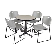 "Regency Kobe 30"" Round Breakroom Table- Maple and 4 Zeng Stack Chairs- Grey (TKB30RNDPL44GY)"