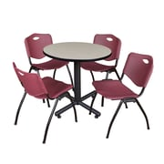 """Regency Kobe 30"""" Round Breakroom Table- Maple and 4 'M' Stack Chairs- Burgundy (TKB30RNDPL47BY)"""
