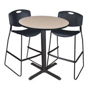 """Regency Cain 36"""" Round Cafe Table- Beige and 2 Zeng Stack Stools- Black (TCB36RNDBE4495)"""