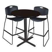 "Regency Cain 36"" Round Cafe Table- Mocha Walnut and 2 Zeng Stack Stools- Black (TCB36RNDMW4495)"