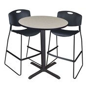 """Regency Cain 36"""" Round Cafe Table- Maple and 2 Zeng Stack Stools- Black (TCB36RNDPL4495)"""