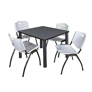 Regency – Table de salle de pause carrée Kee de 42 po, gris/noir, avec 4 chaises empilables M, gris (TB4242GYPBK47GY)