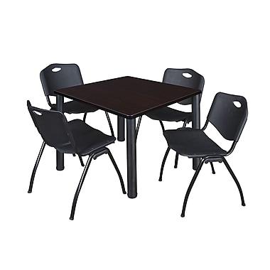 Regency ? Table de salle de pause carrée Kee de 42 po, noyer moka et noir, et 4 chaises empilables « M »