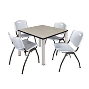 "Regency Kee 42"" Square Breakroom Table- Maple/ Chrome and 4 'M' Stack Chairs- Grey (TB4242PLPCM47GY)"