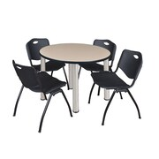 "Regency Kee 42"" Round Breakroom Table- Beige/ Chrome and 4 'M' Stack Chairs- Black (TB42RDBEPCM47BK)"