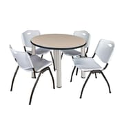 "Regency Kee 42"" Round Breakroom Table- Beige/ Chrome and 4 'M' Stack Chairs- Grey (TB42RDBEPCM47GY)"