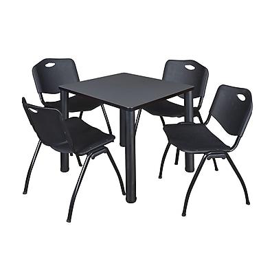 Regency – Table de salle de pause carrée Kee de 30 po, érable/noir, avec 4 chaises empilables M, noir (TB3030GYPBK47BK)