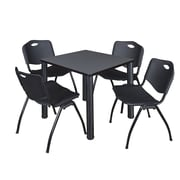 """Regency Kee 30"""" Square Breakroom Table- Grey/ Black and 4 'M' Stack Chairs- Black (TB3030GYPBK47BK)"""