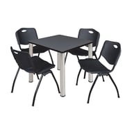 "Regency Kee 30"" Square Breakroom Table- Grey/ Chrome and 4 'M' Stack Chairs- Black (TB3030GYPCM47BK)"