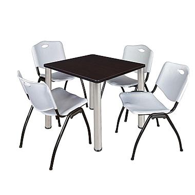 Regency – Table de salle de pause carrée Kee de 30 po, noyer moka/chrome, avec 4 chaises empilables M, gris (TB3030MWPCM47GY)