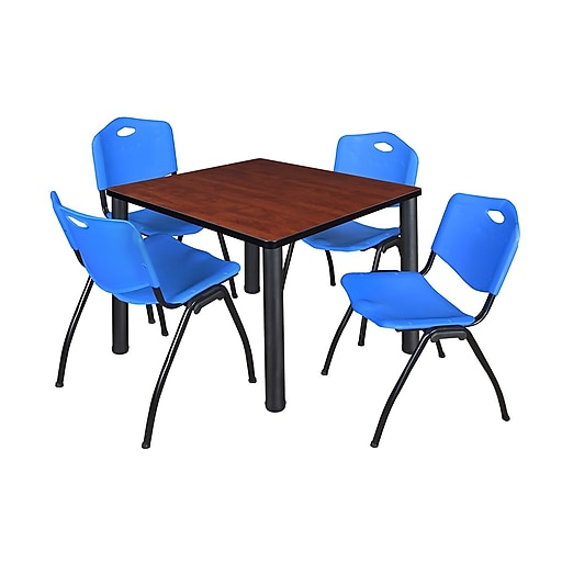 "Regency Kee 36"" Square Breakroom Table- Cherry/ Black and 4 'M' Stack Chairs- Blue (TB3636CHPBK47BE)"
