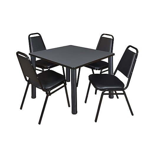 regency kee 36 square breakroom table grey black and 4 restaurant stack chairs black. Black Bedroom Furniture Sets. Home Design Ideas