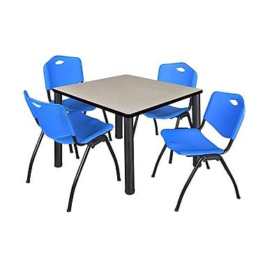 Regency – Table de salle de pause carrée Kee de 36 po, érable/noir, avec 4 chaises empilables M, bleu (TB3636PLPBK47BE)