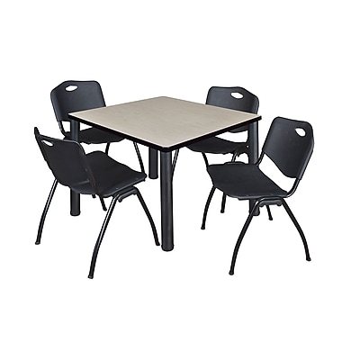 Regency – Table de salle de pause carrée Kee de 36 po, érable/noir, avec 4 chaises empilables M, noir (TB3636PLPBK47BK)