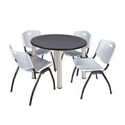 "Regency Kee 42"" Round Breakroom Table- Grey/ Chrome and 4 'M' Stack Chairs- Grey (TB42RDGYPCM47GY)"
