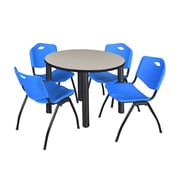 """Regency Kee 42"""" Round Breakroom Table- Maple/ Black and 4 'M' Stack Chairs- Blue (TB42RDPLPBK47BE)"""