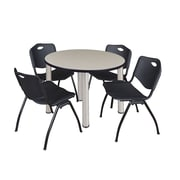 """Regency Kee 42"""" Round Breakroom Table- Maple/ Chrome and 4 'M' Stack Chairs- Black (TB42RDPLPCM47BK)"""