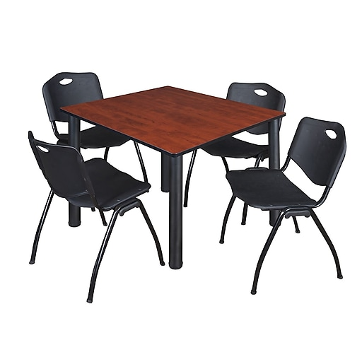 """Regency Kee 48"""" Square Breakroom Table- Cherry/ Black and 4 'M' Stack Chairs- Black (TB4848CHPBK47BK)"""