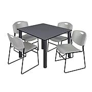 "Regency Kee 48"" Square Breakroom Table- Grey/ Black & 4 Zeng Stack Chairs- Grey"