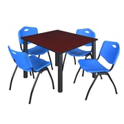 "Regency Kee 48"" Square Breakroom Table- Mahogany/ Black and 4 'M' Stack Chairs- Blue (TB4848MHPBK47BE)"